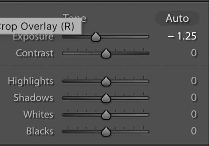 Screenshot of the basic panel showing the exposure slider to the left in Lightroom.
