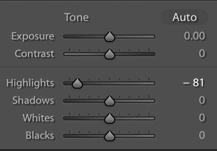 Screenshot of the basic panel showing the highlights slider to the left in Lightroom.