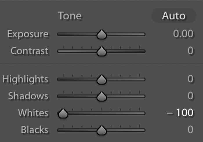 Screenshot of the basic panel showing the whites slider to the left in Lightroom.