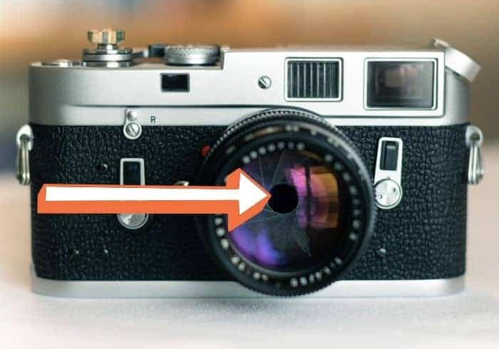A black and silver camera with an arrow pointing at the lens.