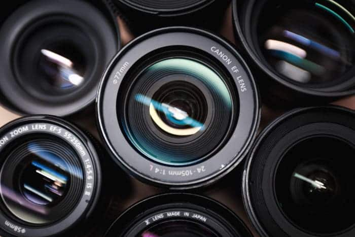 Group of camera lenses.