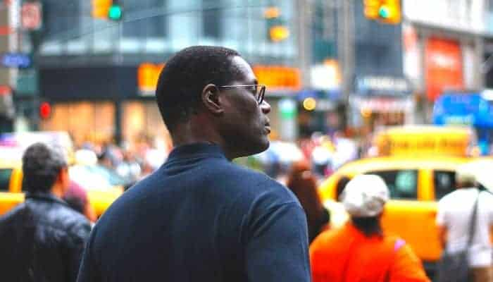 Selective focus on a person in a crowd.