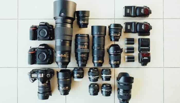 Cameras, lenses, and speed-lights.