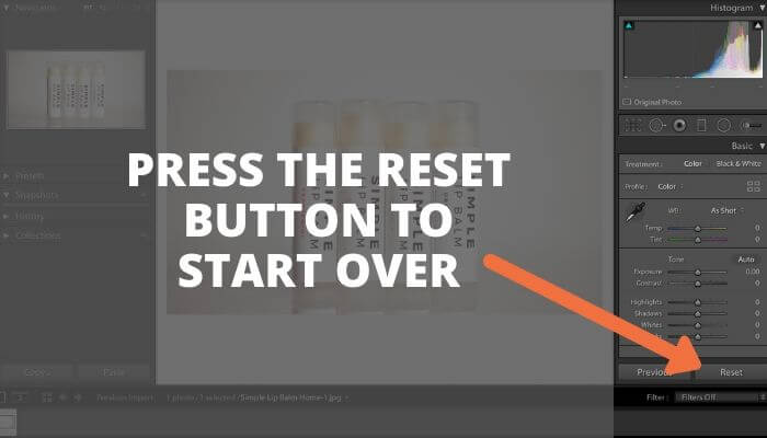 Screenshot of Adobe Lightroom with text and an arrow pointing at the reset button.