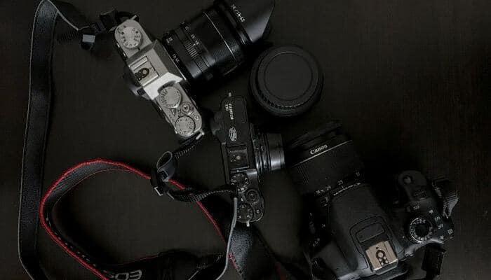 Flatlay of 3 cameras.