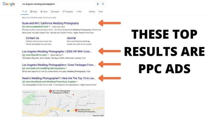 Screenshot of examples of PPC ads on Google.