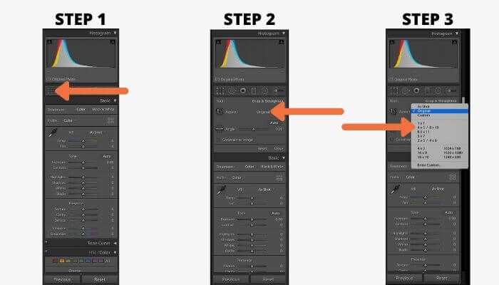 Instructions to change aspect ratio in Lightroom.