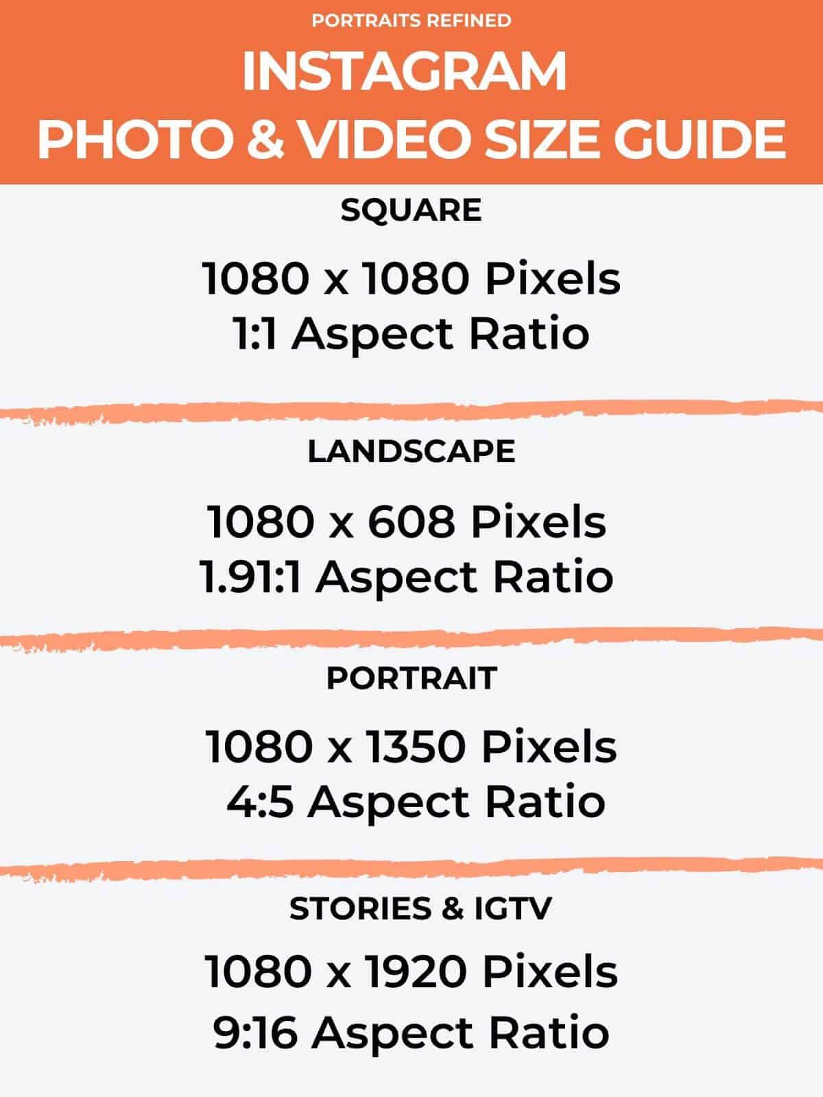 Instagram photo size infographic.