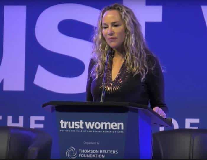 Lisa Kristine speaking at Thomson Reuter's Trust Women Conference.