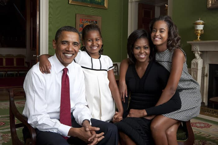 Portrait of the Obama family in the White House.