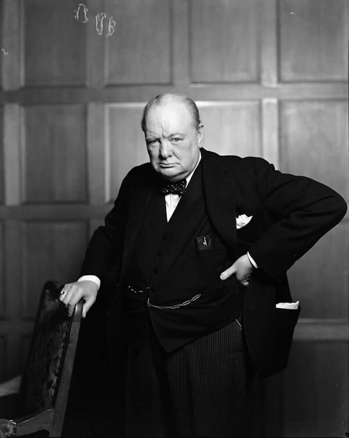 Grayscale portrait of Winston Churchill.