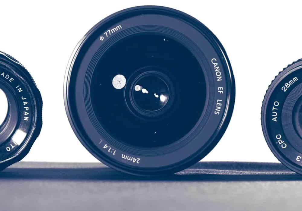 Three camera lenses.