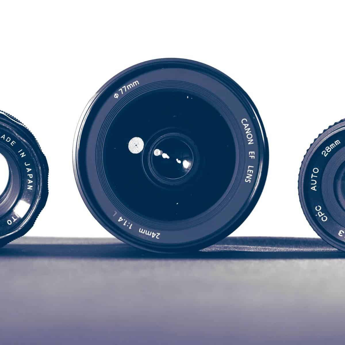 Three camera lenses.
