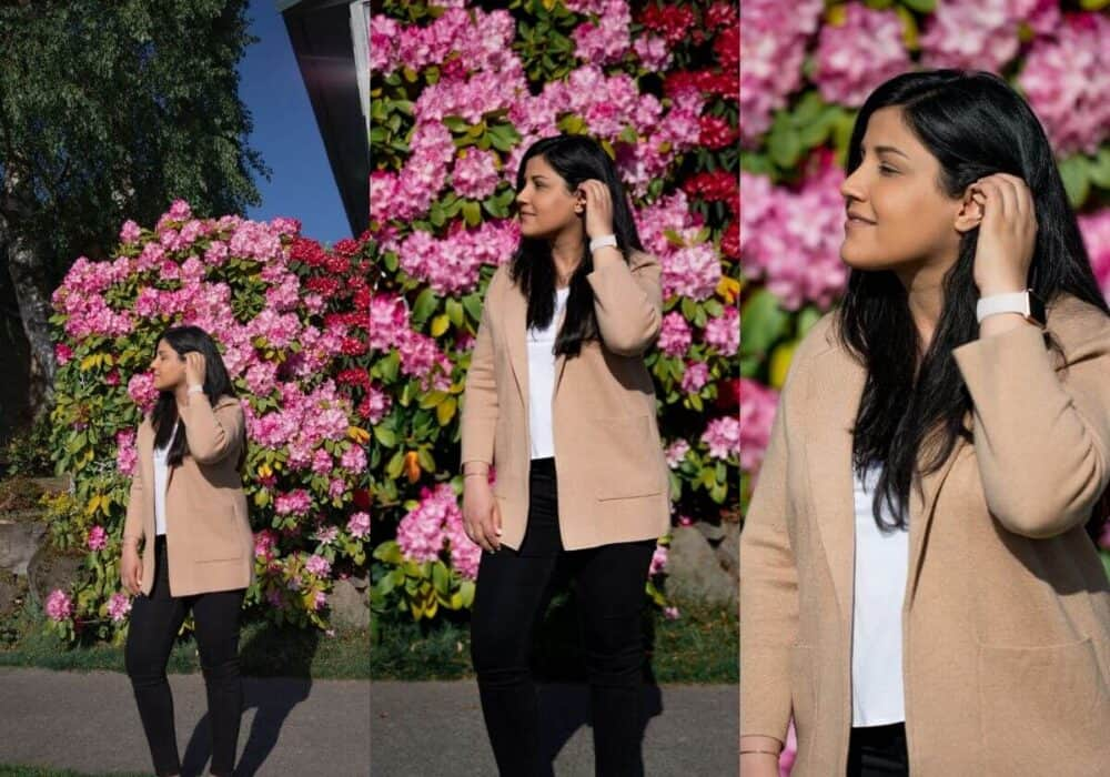 3 images of a person showing different focal lengths.