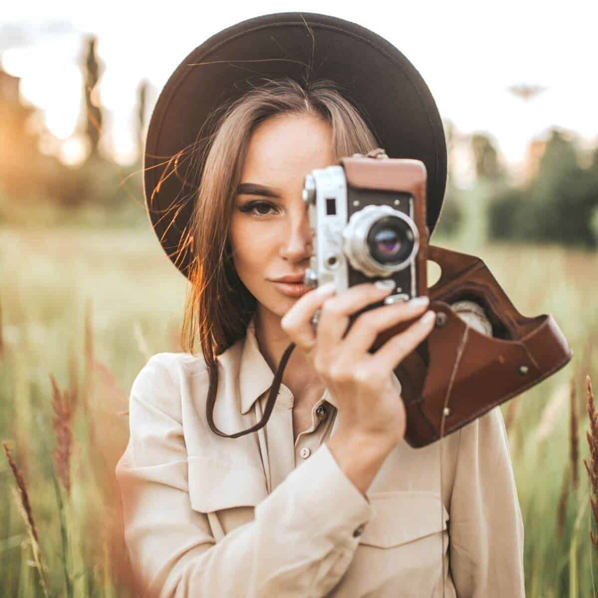 Photographer in a field.