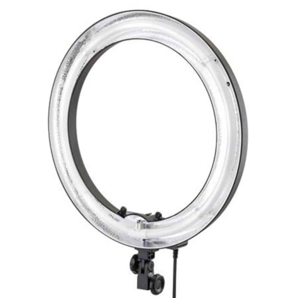 Close-up of a ring light.