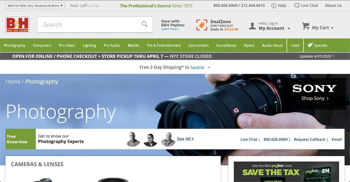 Screenshot of the B&H website.