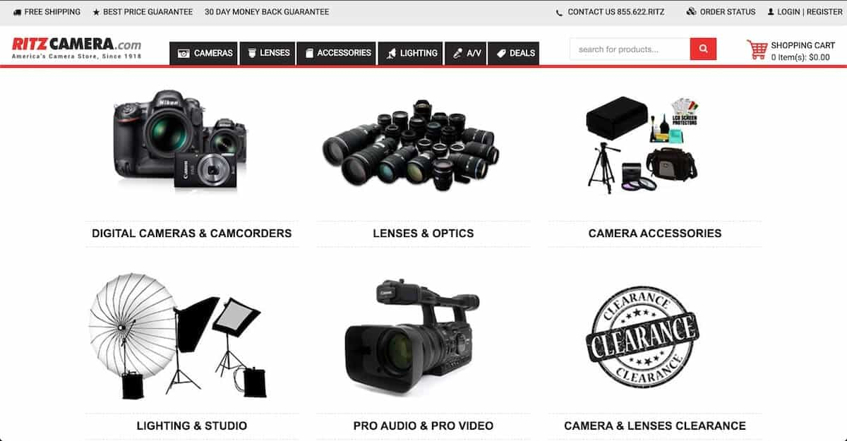 Screenshot of the Ritz Camera website.