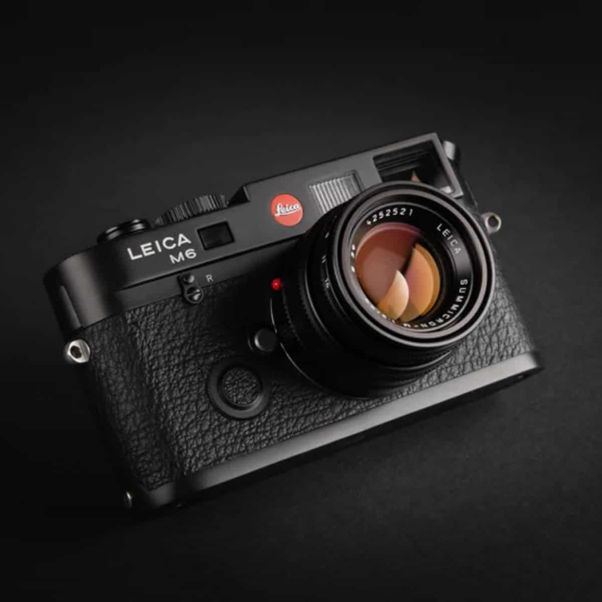 Black Leica camera with a black background.