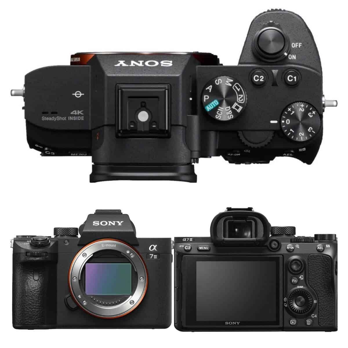 Three angles of the Sony a7 III camera.