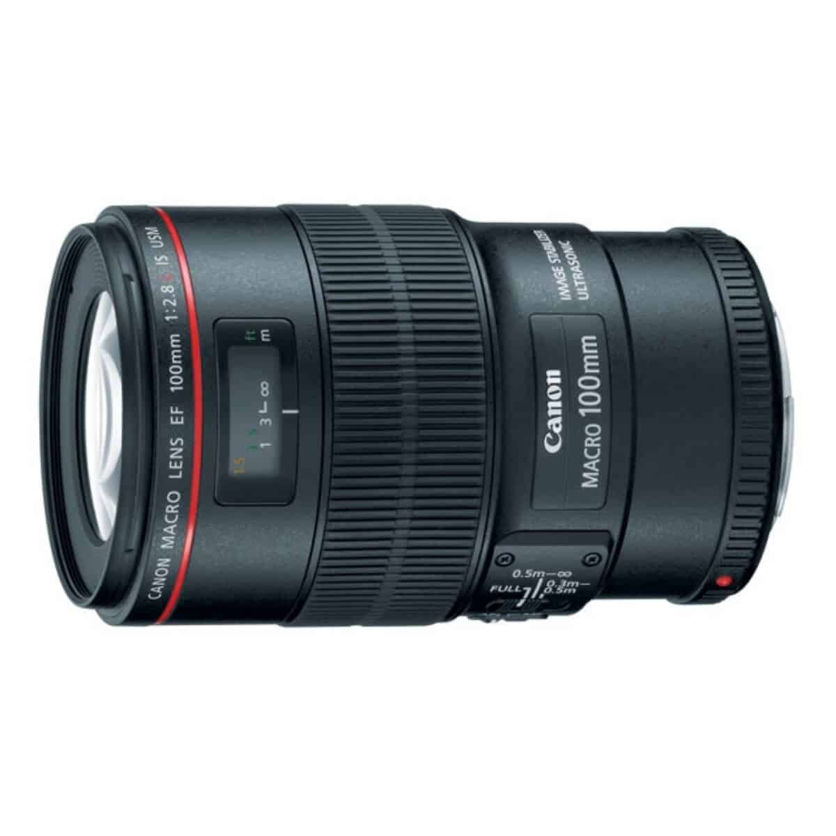 Side view of the Canon 100mm macro lens.