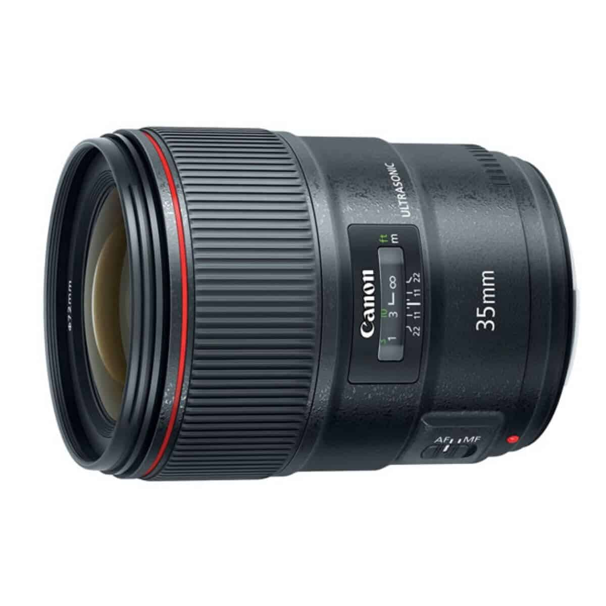 Side and long view of the Canon 35mm f/1.4 lens.