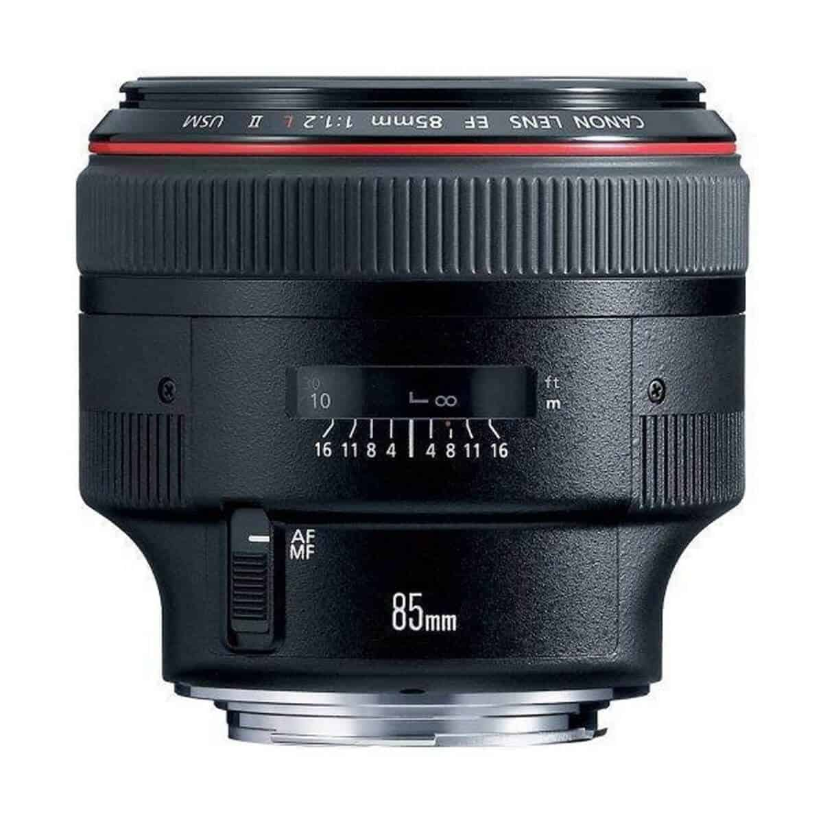 Side view of the Canon 85mm f/1.2 lens.