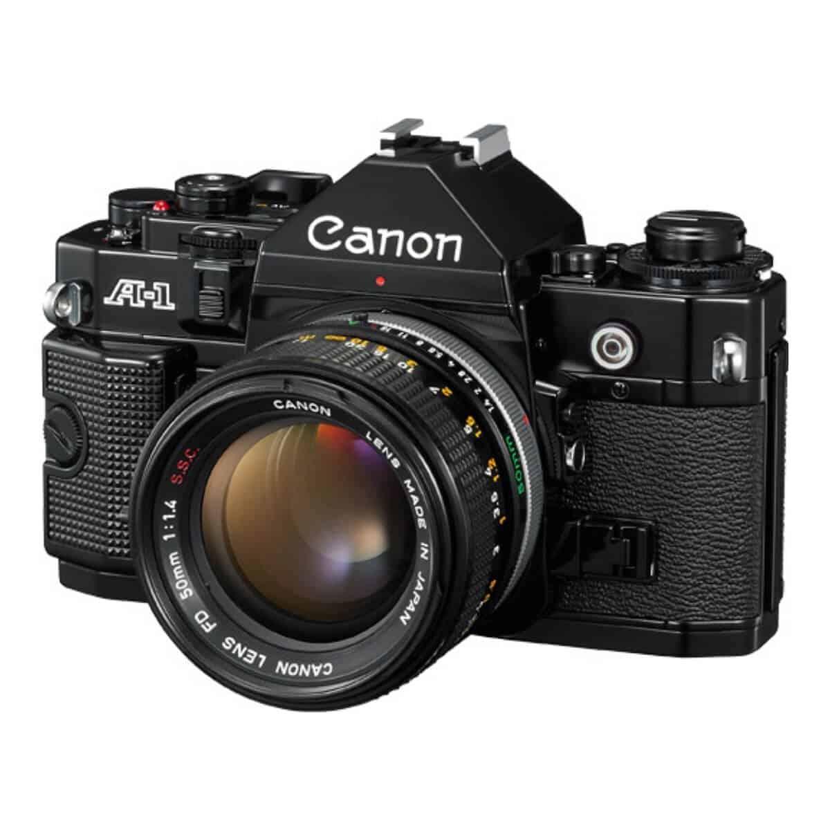 Black Canon A-1 film camera.