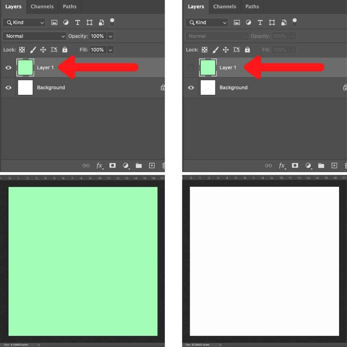 Screenshot of the steps to hiding a layer in Photoshop.