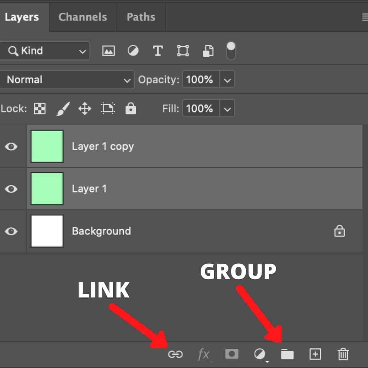 Screenshot of the Photoshop Layers panel with arrows pointing to the Link and Group buttons.