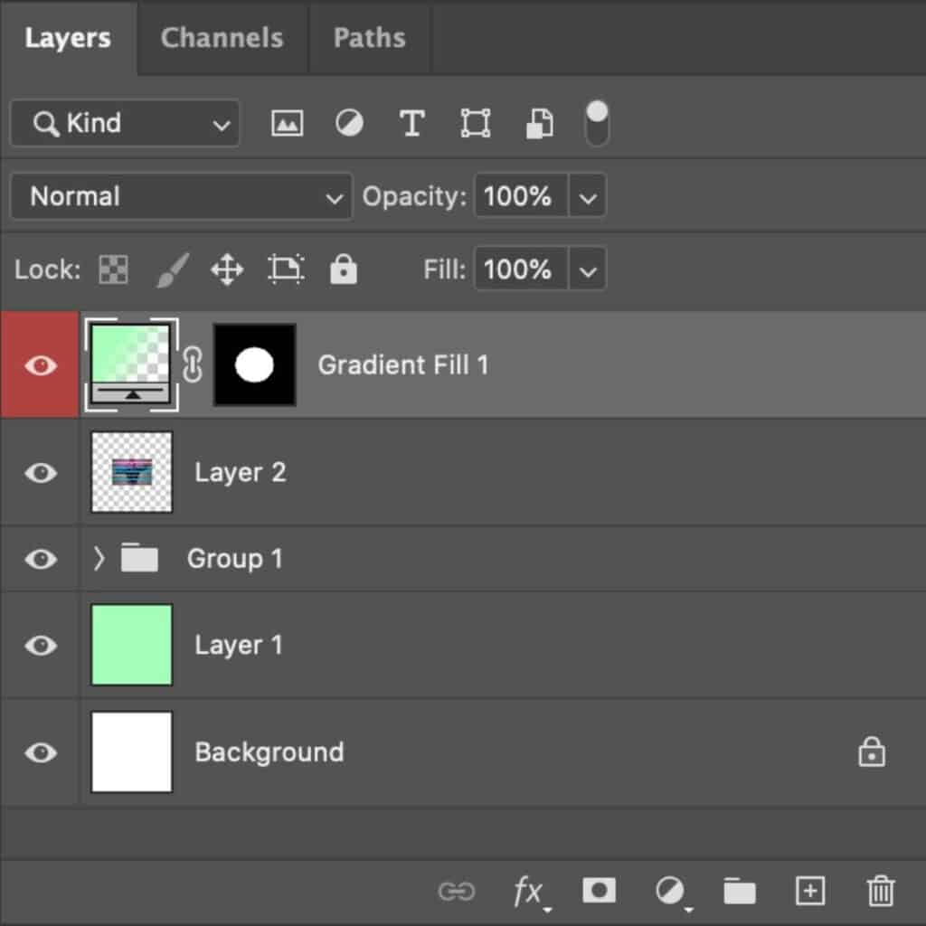 Screenshot of the Layers panel in Photoshop with several layers.
