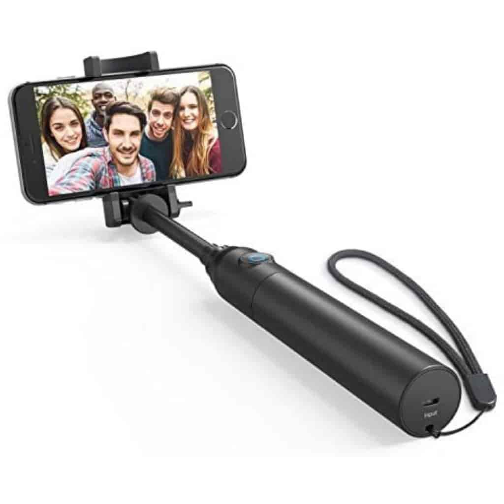 Anker selfie stick holding a phone.