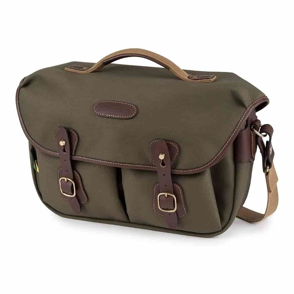 Sage green Billingham camera bag with chocolate leather accents.