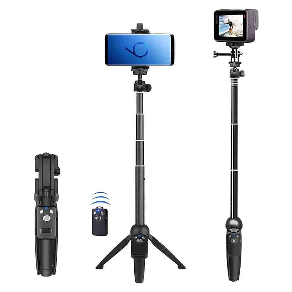 BZE selfie stick showing different ways that it works and the wireless remote.