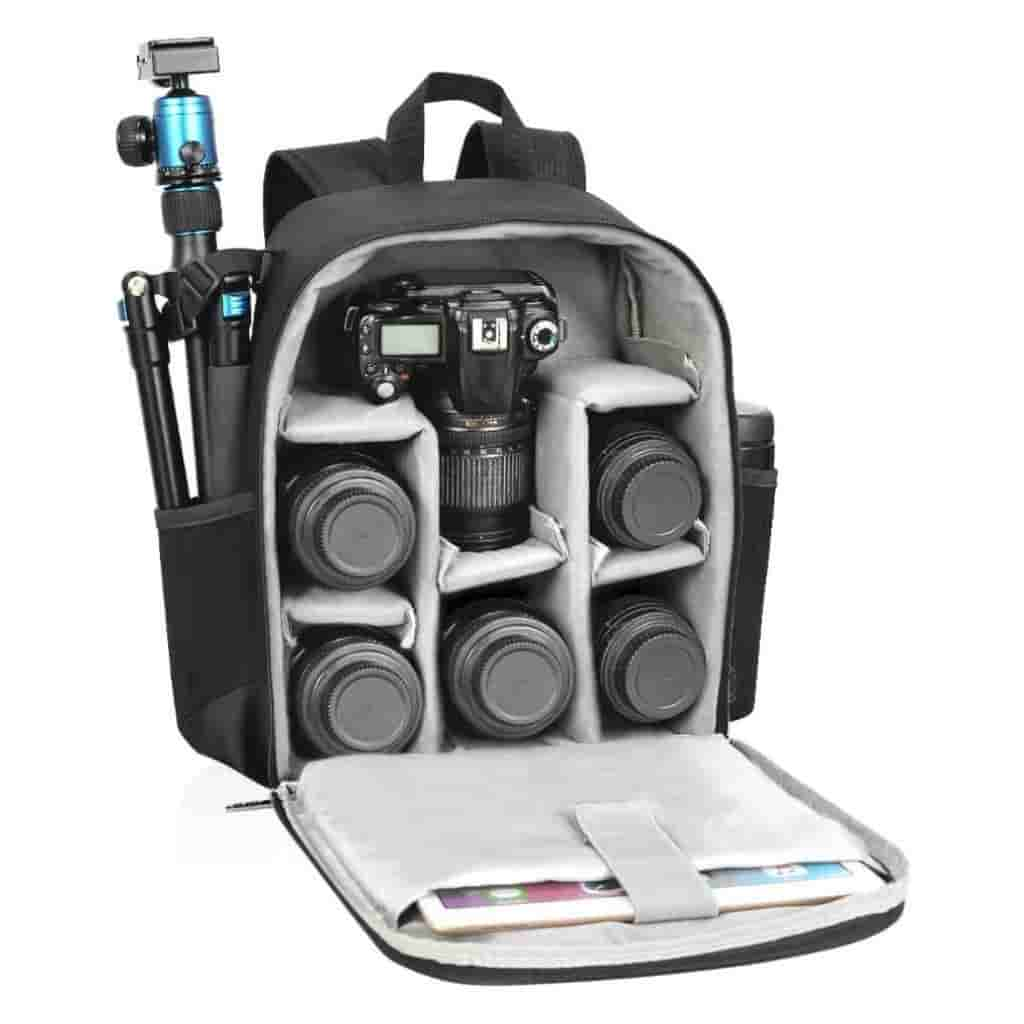 Camera backpack stuffed with lenses, a camera, tripod, tablet, and water bottle.