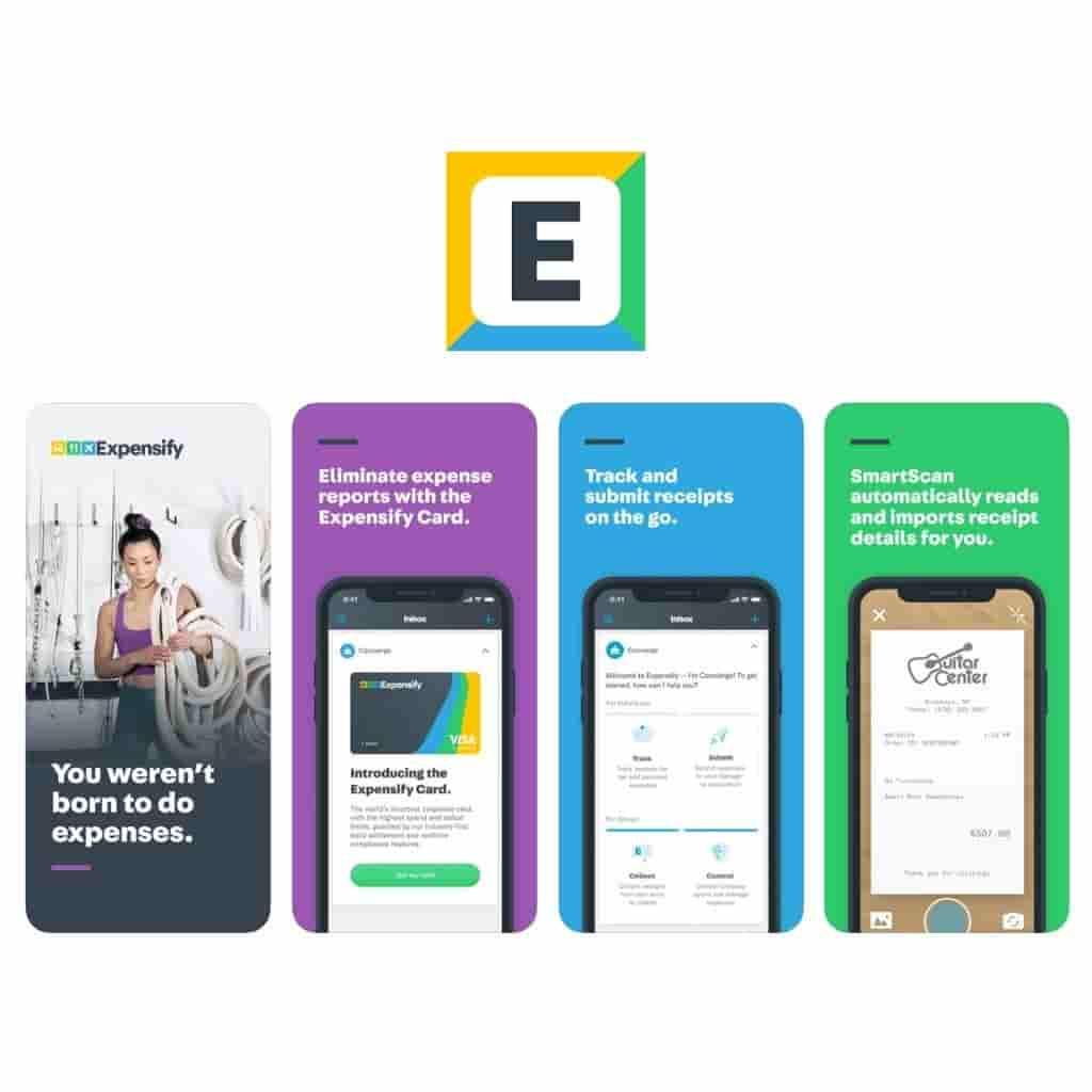 Expensify app logo and screenshots.