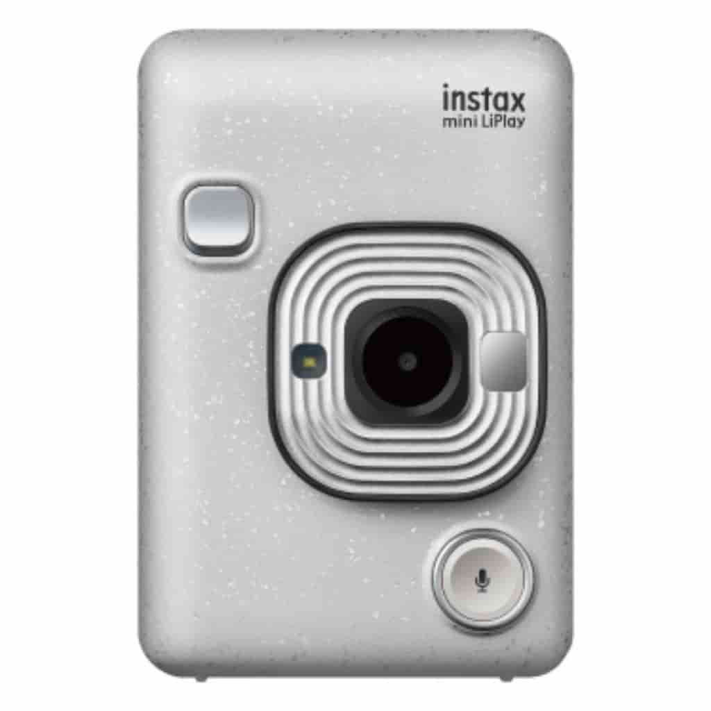 White Fujifilm Instax Mini LiPlay camera.