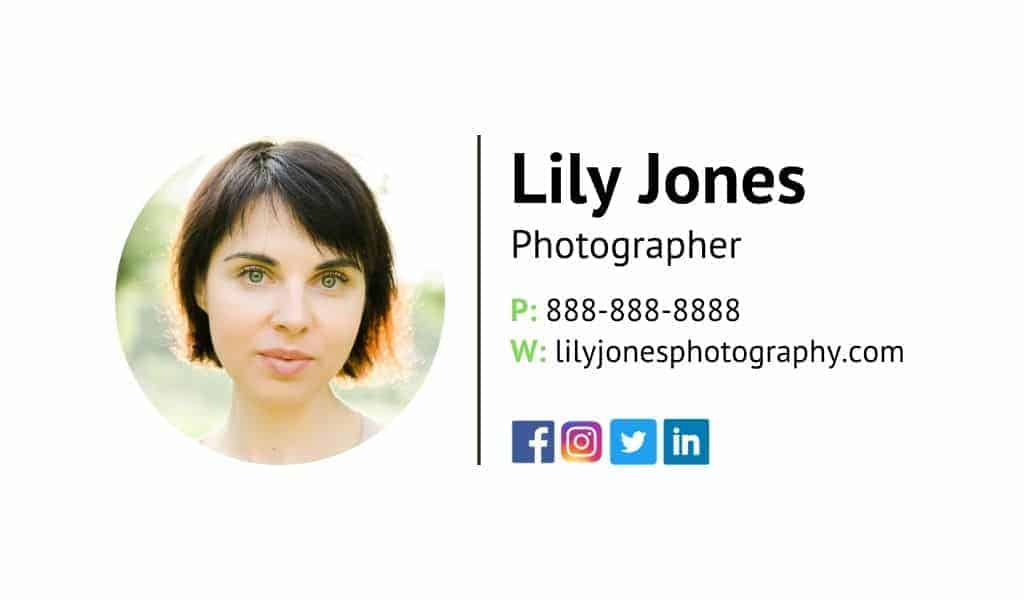 Email signature example for Lily Jones.