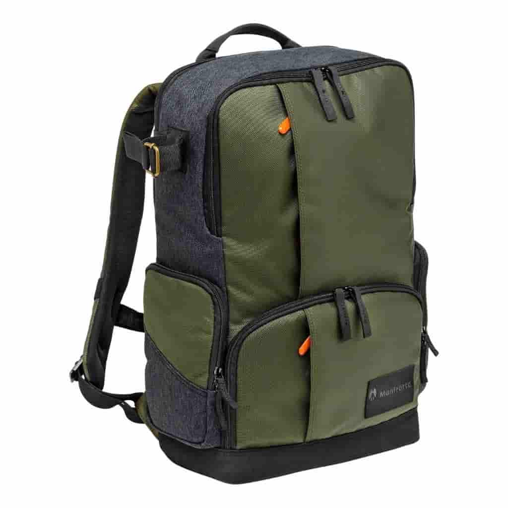 Green and grey Manfrotto Street Medium Backpack.