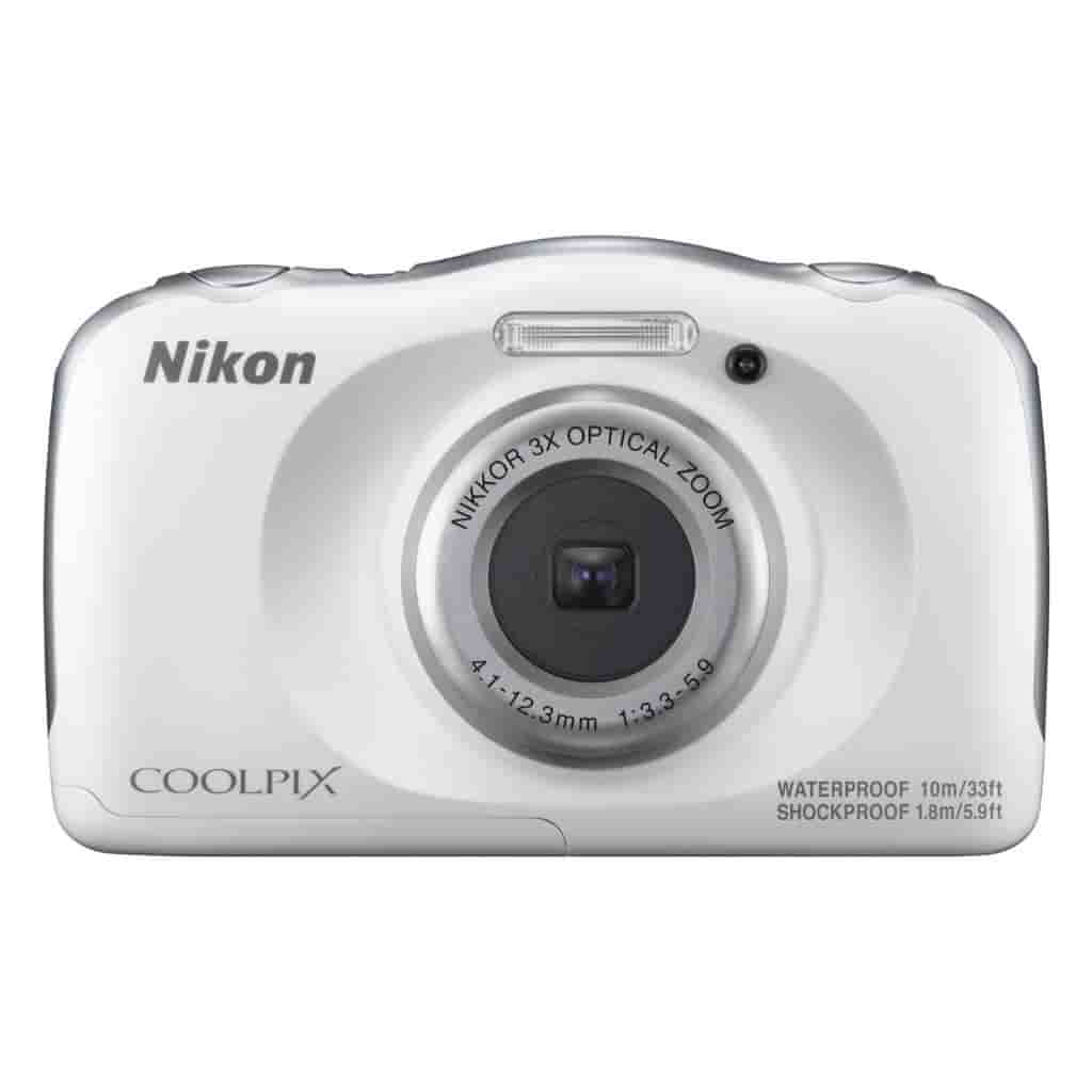 White Nikon COOLPIX W100 camera.