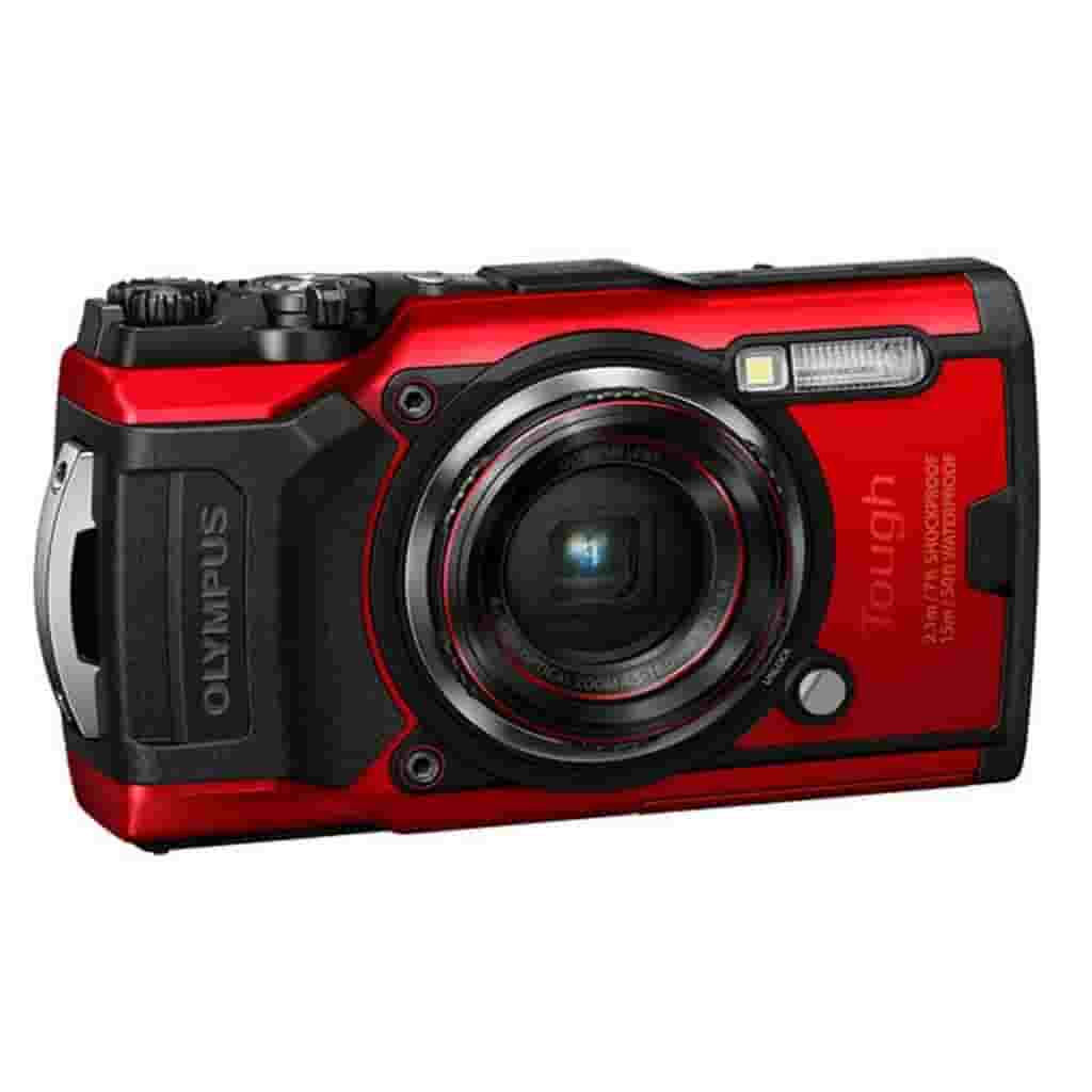 Black and red Olympus Tough TG-6 camera.