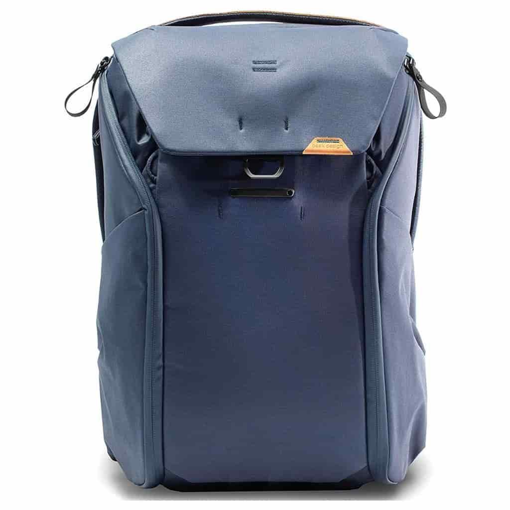 Peak Design blue backpack.