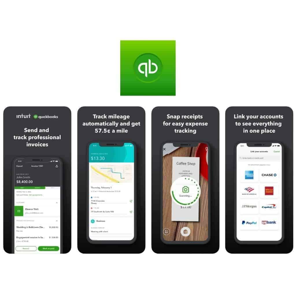 Quickbooks app logo and screenshots of the app.
