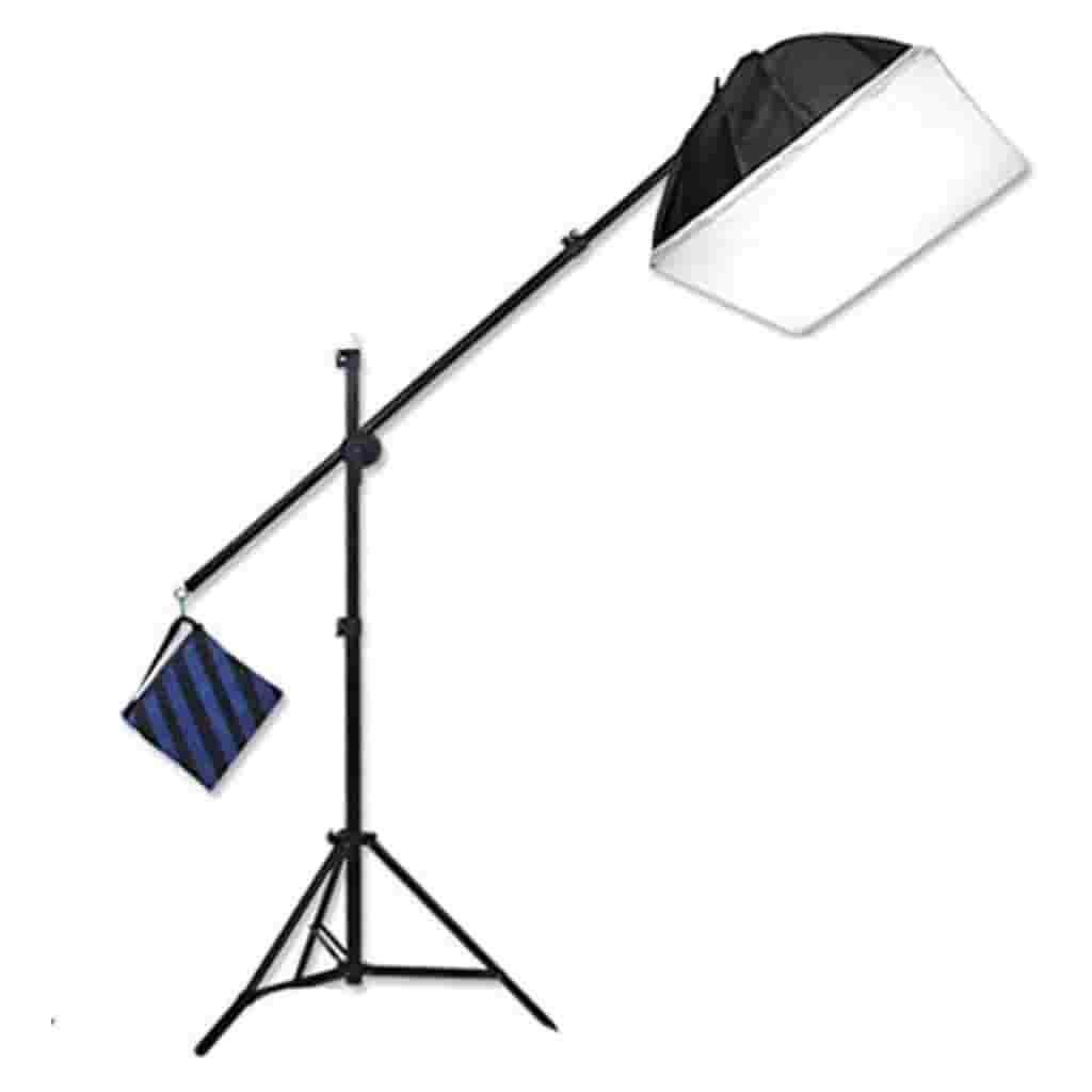 Light stand with a softbox on one end and weight bag on the other.