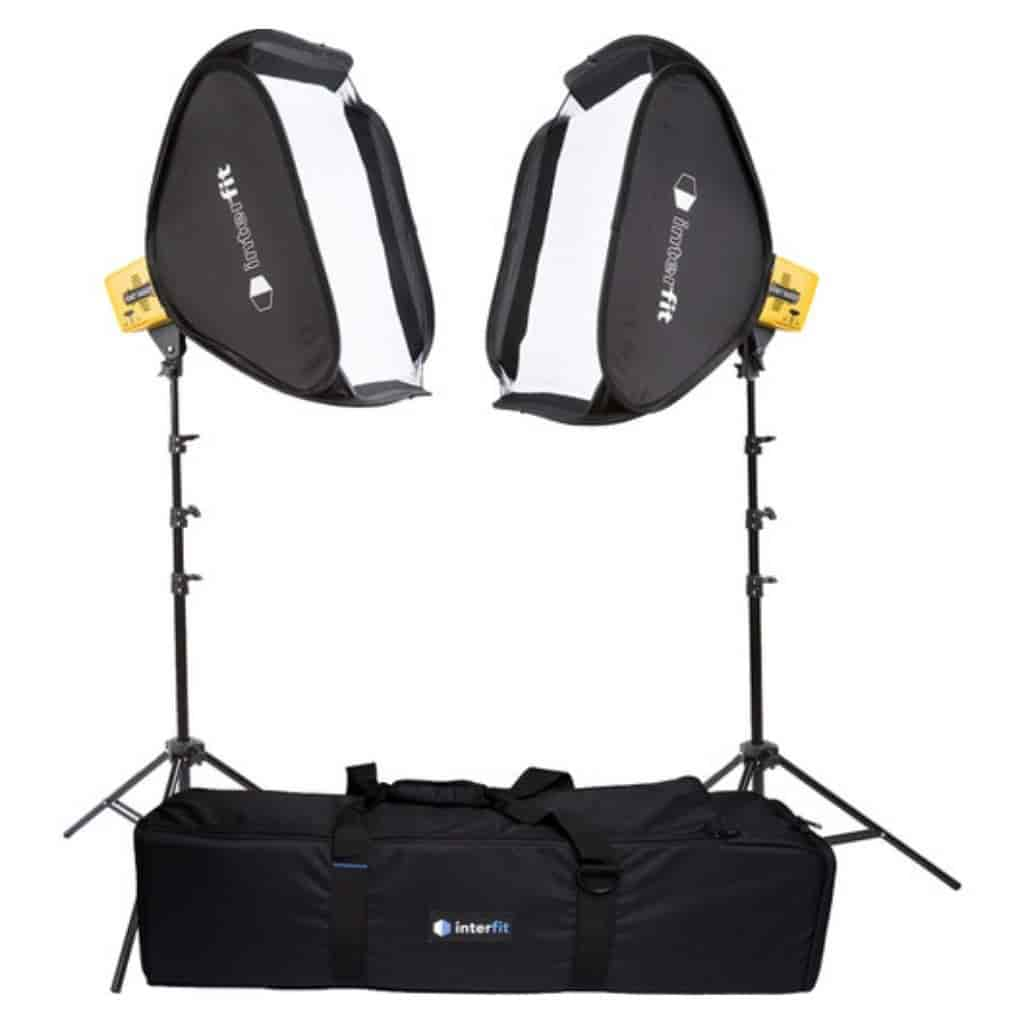 Interfit photography light kit and carrying case.