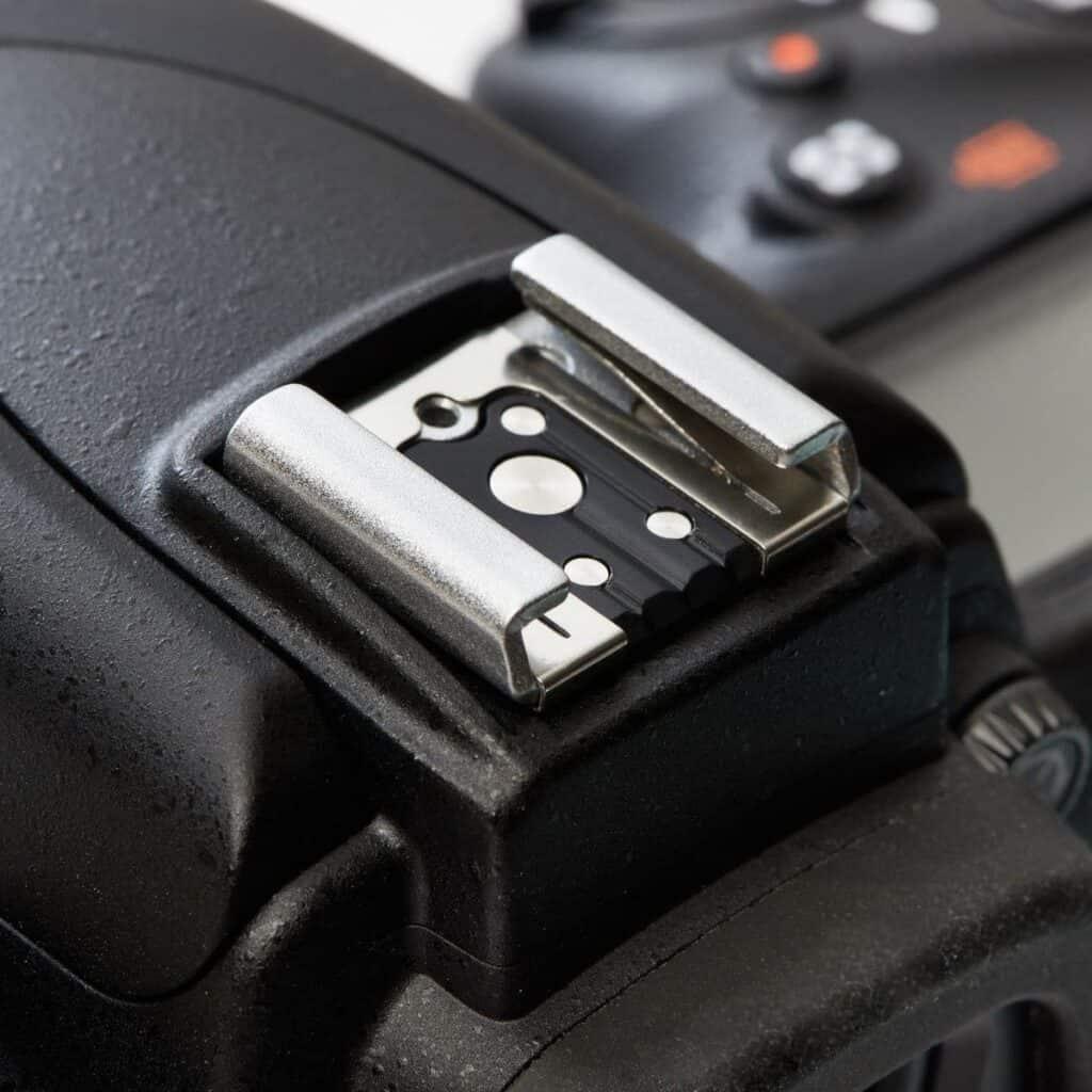 Close-up of a camera's hot shoe.