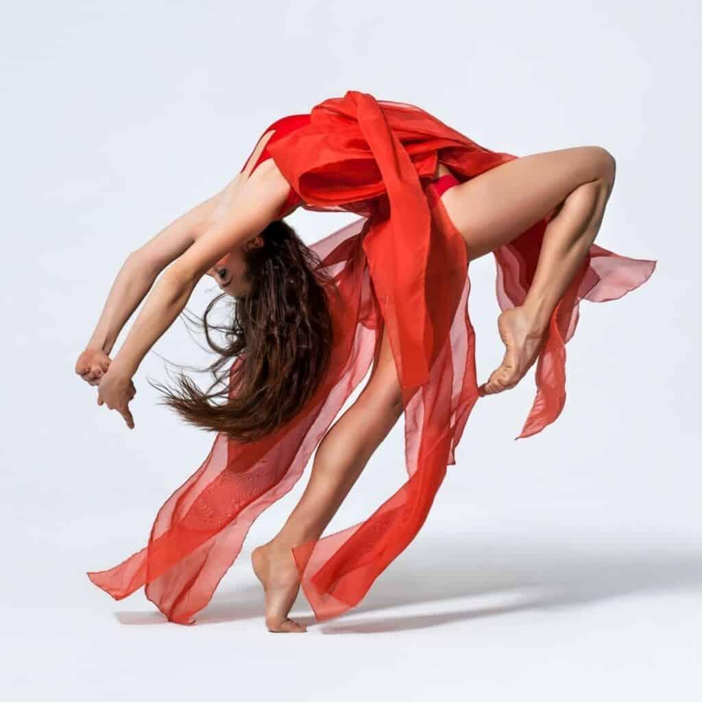 Person dancing and bending backwards.