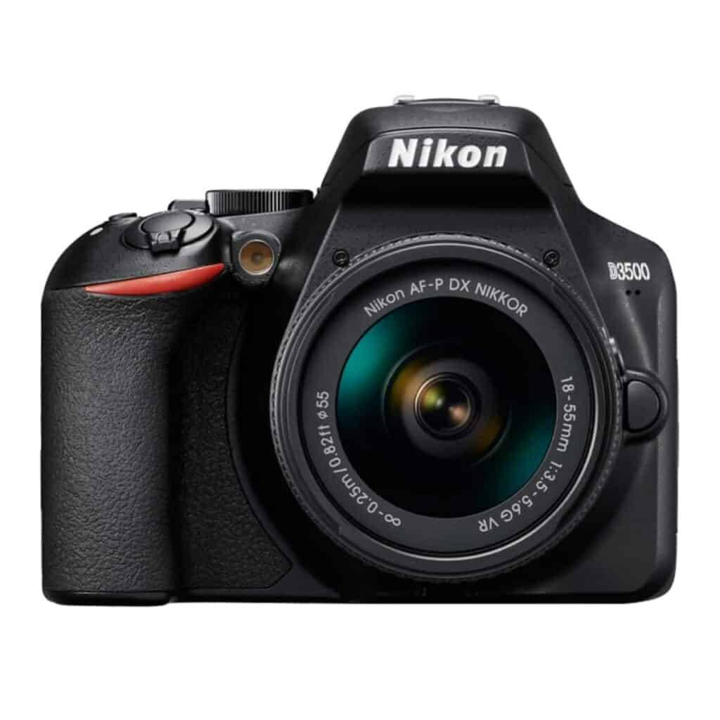 Nikon D3500 camera with a lens attached.