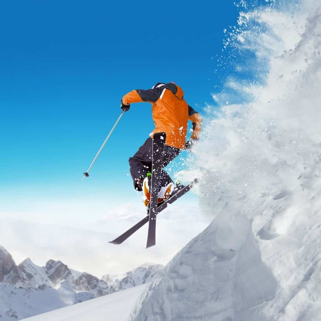 Skier mid-air.